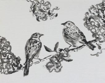 Small bird painting original black and white