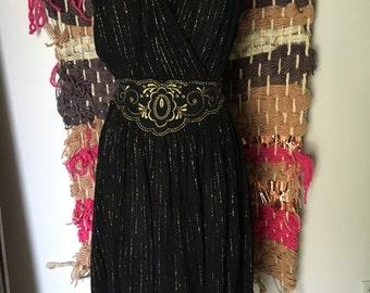 Vintage gauze lurex embroidered Grecian dress