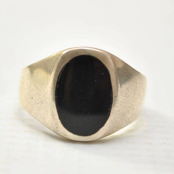 Onyx Small Oval Stone in Plain Sterling Silver Ring Sz 12 #8783