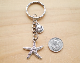 Starfish Keychain, Accessories, Shell Charm Keychain, Beach Keychain, Jewelry Findings