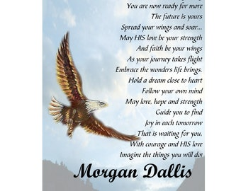 Spread Your Wings and Soar Inspirational Graduation Poem College / High School  5 x 7  Print ~ Personalized Gift for Graduate