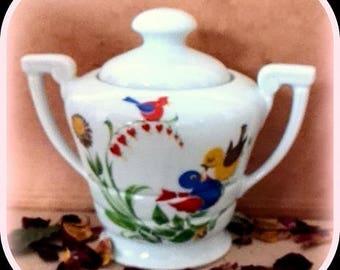 Large sugar bowl with 2 handles red bird motifs blue on white Limoges porcelain