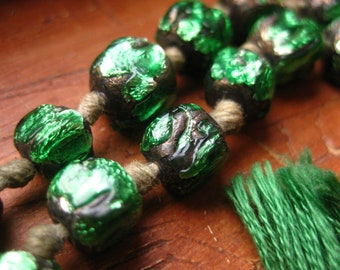 Foil Beads Antique Fringed  Strand Green
