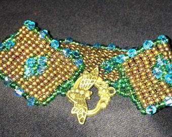 Number 31 Square hand woven bracelet. Maine Artist