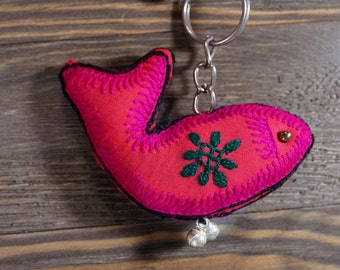 Cute key chain,Fish accessories,Tribal keychains,Handmade keychains,Colorful keychains,Fabric,keychains for women,Free shipping,Gift for her