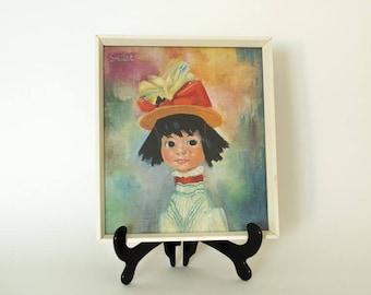Soulet 1960's framed Print - Small Girl - Kitsch Retro Vintage