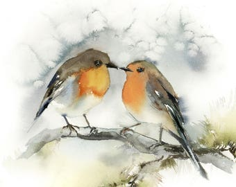 Couple Birds Art Print, Watercolor Painting Print of Birds, Robin Birds Giclee Print, Birds Pair Wall Print