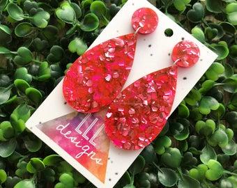 Hot Pink Confetti Tear Drop Statement Dangle Earrings. (lge) Metallic Hot Pink Confetti Earrings. Handmade Quirky Earrings. Fun Earrings!!!
