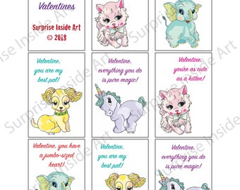 Vintage Squeaky Toys Valentines Instant Download