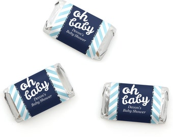 Hello Little One - Blue and Silver - Mini Candy Bar Wrappers - Personalized Baby Shower Hershey® Miniature Candy Bar Sticker Labels - 20 Ct