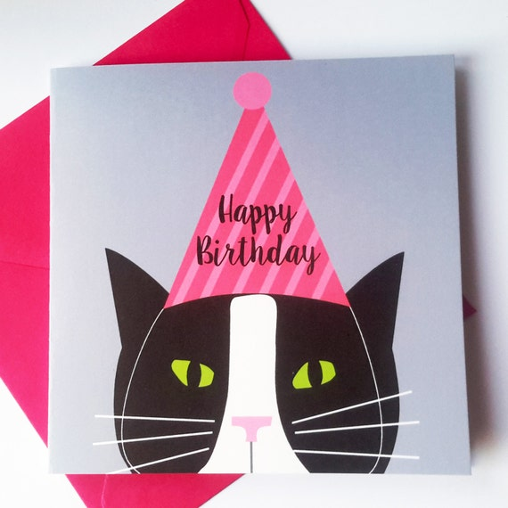 Cat birthday card black and white cat with party hat like this item bookmarktalkfo Choice Image