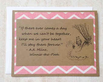 Keep Me In Your Heart - Winnie the Pooh Quote - Classic Piglet and Pooh Note Card Pink Border