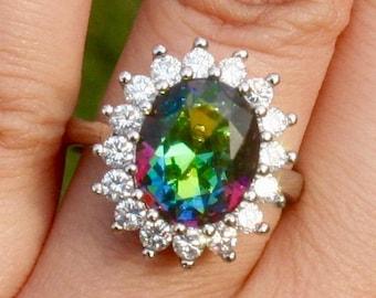 Mystic Rainbow Topaz Silver Ring