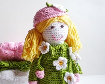 Crochet Doll - Amigurumi Doll - Strawberry Fairy - Crochet Toy - Gift for Girl - Baby Shower Gift - Stuffed Toy - Soft Doll -  Birthday Gift