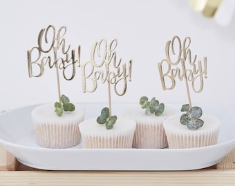 Oh Baby Cupcake Toppers, Gold Baby Shower, New Baby, Baby Shower Cupcake Cake Toppers, Cake Decorations, Baby Shower Cake