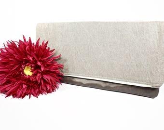 Sale Fold Over Clutch | Beige Neutral Denim Clutch | Wedding Clutch | Evening Clutch Purse | Leather Zipper Clutch | Bridesmaid Clutch