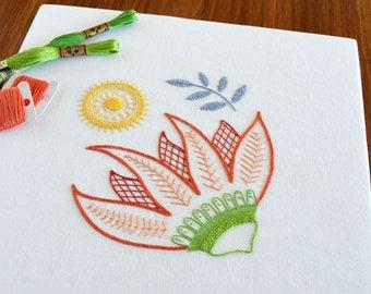 Burnesque hand embroidery pattern, modern embroidery, crewel, Jacobean, embroidery patterns, embroidery PDF, PDF pattern