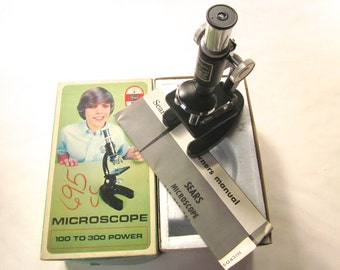 Vintage Sears Microscope, 100, 200, 300 Power w Original Box and Owners Manual