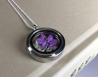 Purple Flower Pendant - Paper Quilling/Filigree