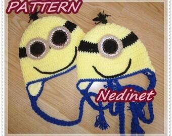 Mignion crochet hat PATTERN Gru Earflap Hat