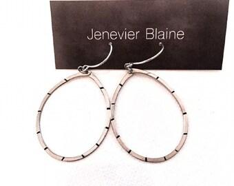 Modern Silver and Black Stripe Hoop Earrings - you choose brass or silver