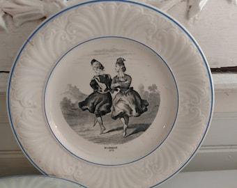 Four Antique French Creil et Montereau B & C Depose Plates with Dancing Ladies