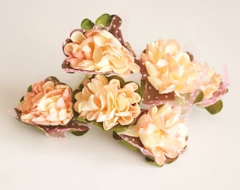 Bridal Hair Accessories, Cream, Salmon  flower Hair Bobby Pins- set 6