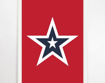 Star Print, Art, Kids, Nursery, Art Print, Wall Art, Poster, Children's Decor, Kids Decor, Nursery Decor, Art For Kids, Star, American, Red