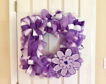 Lavender Purple Square Wreath - Spring Summer Mesh Door Decor - Mother's Day Wreath