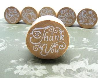 THANK YOU Stamp - Favor Bag Stamp - Circle Stamp - Word Stamp