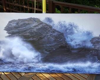 Carreg Bica, Llangrannog Canvas 100x50cm canvas