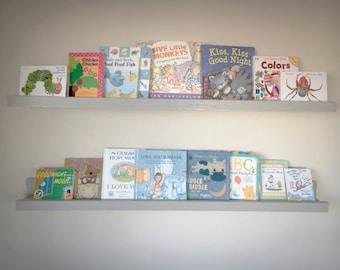 "Custom Listing- Book or Photo Ledge - Book Shelf - Photo Shelves - Nursery Decor - 3 at Shelves at 24"""