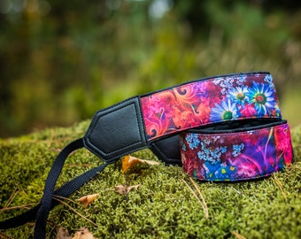 Floral camera strap. DSLR / SLR Camera Strap. Camera accessories. Photo accessories. Colorful and bright camera replacement strap by InTePro