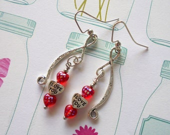 Red and Silver Valentine Earrings (4227)