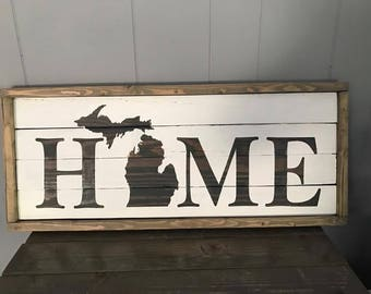 Michigan Home Wood Sign with Wood Frame
