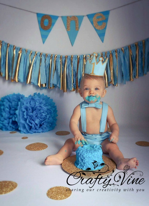 Boys Prince Cake Smash Outfit In Your Choice Of Color With Crown