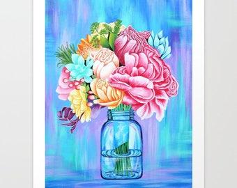 Print Mason Jar with Flowers // Acrylic, art, nature,painting,bohemian,boho,botanicals,blue,bright,colorful,rainbow colors,roses,succulents