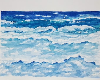 ORIGINAL Watercolor Painting Seascape,Ocean Watercolor Painting,Modern Watercolor,Ocean Wall Art,Coastal Wall Art,Beach Wall Art,Seaside Art