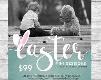 Easter Mini Session Template Bunny Ears Blue | Photography Template | Photographer Resources | M26