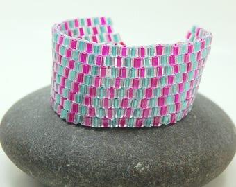 Pigtails/Cube Cuff/Beaded Bracelet/Accessory/Peyote Bracelet/ Nostaglic/Best Friend Gift