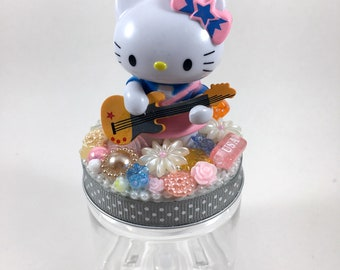 Hello Kitty Assemblage Art Trinket Jar Party Favor - Guitar Kitty