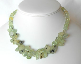 "Prehnite necklace with sterling silver clasp and extender chain measuring 16"" (40 cms) with 2"" extender."