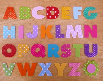 Box Style Iron on Fabric Letters -  3.2cm uppercase fabric appliques - made to order, choose your letters & fabrics - ships from UK