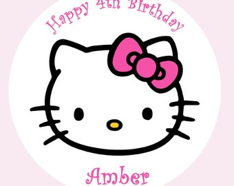 "Hello Kitty personalised Cake Topper Edible Wafer Paper 7.5"" Pink"