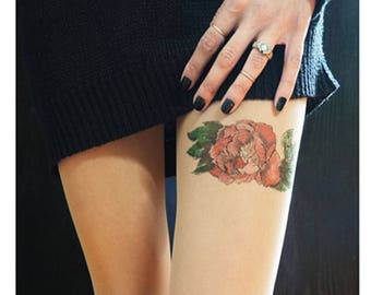 flower garter tattoo tights, handpainted stockings not printed