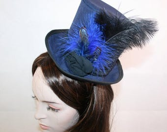 Blue Black Top Hat Navy blue mini top hat black mini top hat cosplay hat costume top hat Event hat races hat