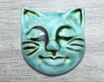 Kitty Face Ceramic Cabochon Stone in Seafoam Iron