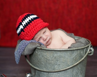 Baby Boy Hat Newborn Baby Hat Baby Boy Cap Baby Boy Clothes Patriotic Baby Hat Red White Blue Baby Hat Photo Prop 4th of July Navy Blue