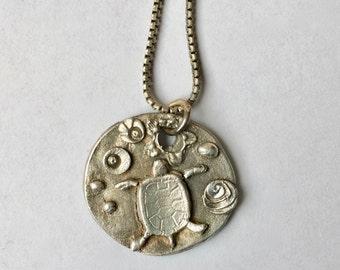 little artisan turtle pendant,  sterling