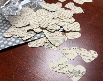 Pride and Prejudice Book Confetti - 150 Hearts - Vintage Book Confetti - Wedding Decor